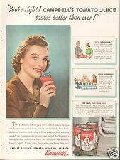 1940 Campbell's Tomato Juice Pretty Girl LARGE Print Ad
