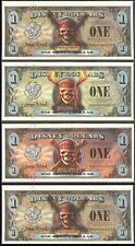 2007 (4) $1 Pirate Disney Dollars Same 4-digit SN 9793