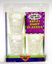 Gothic Skeleton Head GLOW SKULL SHOT GLASSES Bar Drink Pirate Decoration-3pc SET