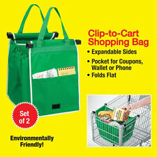 New Grab Bag 2 Pack As Seen On Tv Reusable Shopping Bag That Clips To Your Cart