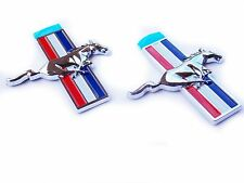 Ford Mustang Pony Running Horse Fender Trunk Side Tri Bar Emblem Badge Pair Set