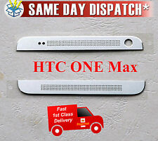 GENUINE HTC ONE MAX 803s TOP + BOTTOM FRONT CAMERA COVER SILVER WITH ADHESIVE UK
