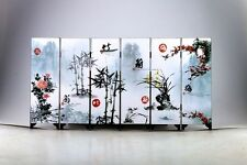 """Good Chinese Lacquer Handwork Painting """"梅兰竹菊 Screen Scroll NR"""