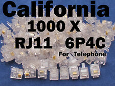 Lot 1000 X PCS CAT3 Phone Connector End RJ11 6P4C Modular Plug Telephone Adapter