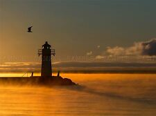 SUNRISE VATTERN LIGHTHOUSE MIST YELLOW ORANGE COAST ART PRINT POSTER BMP1388A