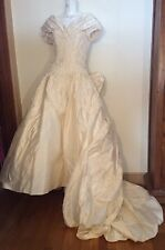 VTG THE DIAMOND COLLECTION SILK BALL BRIDAL GOWN~OFF SHOULDER BOWS TRAIN