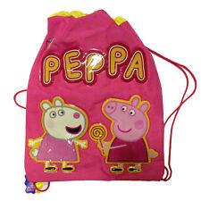 PEPPA PIG sac à dos cordon de serrage sac rose avec écritures e dessins relief