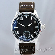 44mm Parnis black dial Casual Analog hand winding 6498 men's Watch 132A