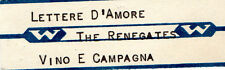 STICKER JUKE BOX- THE RENEGATES - LETTERE D'AMORE - VINO E CAMPAGNA WURLITZER -
