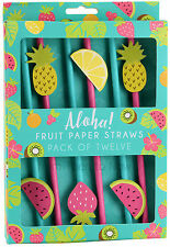 Pack of 12 Fruit Design Paper Straws Tropical Summer Party Cocktails Drinks BBQ