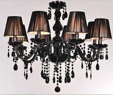 8 Lights Black Murano Glass Crystal Chandelier Light LED Pendant Lamp Ceiling