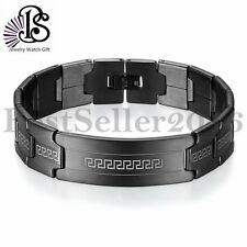 BS Black Greek Key Design Bracelet Stainless Steel Link Chain Mens Cuff  Bangle