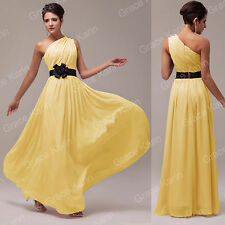 2015 Long Chiffon One Shoulder Bridesmaid Party Evening Prom Wedding Guest Dress
