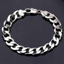22.5cm 10mm 18K White Gold Plated Stoneless Chain Bracelet Men's Birthday Gift