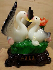 "Chinese Lucky Couple Lover Swan bird Statues 9"".5H"