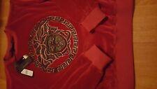 New authentic Versace red Leather Medusa Velvet Sweatshirt sweater XL fits s m