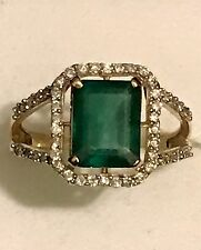 VINTAGE 14K GOLD 2.5 CT NATURAL EMERALD & DIAMONDS RING SZ 7