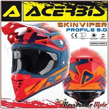 ACERBIS CASCO PROFILE 3.0 SKINVIPER MX MOTOCROSS OFFROAD ATV ROSSO/BLU TAGLIA M