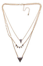 EXQUISITE 3STRAND GOLD EFFECT NECKLACE W ENCRUSTED PYRAMID SHAPE PENDANTS (ZX57)