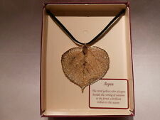 "Real Leaf Metal Filigree Necklace - Large Gold Aspen Pendant on 18"" Leather Cord"