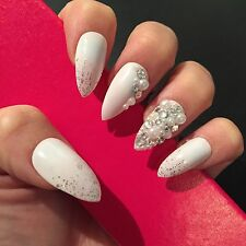 Hand Painted Full Cover False Nails. Stiletto Bridal Swarovski Nails. 24 Nails