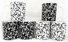 Venetian Mugs Set 6 Black & White Porcelain Venetian Mugs Hand Decorated in U.K.