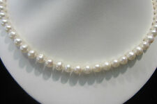 """^ 100 PCS WHOLESALE LOT 17""""  6.5mm CULTURED PEARL KNOTTED SILK NECKLACE STERLING"""