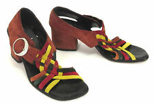 Famolare 7 Rust Yellow Green Red Suede Weave Buckle Slingback Sandal Heels Italy