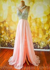 "Blush Pink Long Formal Prom Pageant Evening Gown Dress M 6/8 ""Ariana"" USA seller"