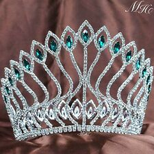 Contoured Pageant Tiara Large Crown Green Crystal Headband Wedding Brida Party