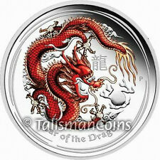 Australia 2012 Year of Dragon $1 1 Ounce Pure Silver Red Color Proof Dollar