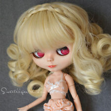 "【Tii】8-10"" NEO 12"" Blythe Hair doll wig milk blond princess curly not scalp"