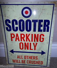 SCOOTER PARKING ONLY VINTAGE-STYLE METAL SIGN 40X30cm (LARGE) LAMBRETTA/ VESPA