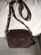 NWT Michael Kors Brooklyn Coffee Brown Leather Crossbody Camera Bag - 30F6ABNM3S