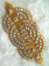 XR9 Applique Gold Beaded Crystal AB Rhinestones Triple Circle Patch Motif 4.75""