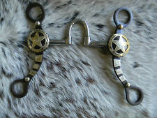 """Western Brown Steel 5"""" Mouth Show Bit Engraved Silver Texas Star Concho New Tack"""