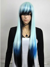 Hot Sell New Long Multicolor White Blue Black Straight Women's Hair Wig K11