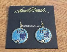 Laurel Burch Kindred Cats Earrings Blue Navy Cloisonne Gold Tone NW Retired Rare