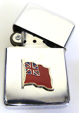 MERCHANT NAVY MN RED WAVY ENSIGN STYLE  WINDPROOF CHROME PLATED LIGHTER