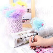 12Pcs/set Fashion Cute Plastic Heart Feather Ball Pen Ballpoint Blue Ink Gift