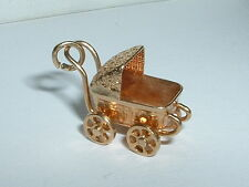 VINTAGE 14k YELLOW GOLD 3D MOVEABLE BABY CARRIAGE / STROLLER CHARM