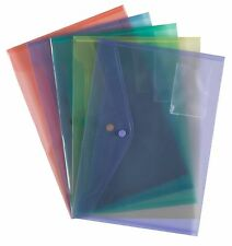 A4 Document Wallets Coloured Plastic Popper Press Stud Files Card- Pack 5