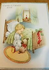 Beautiful Vintage Christmas Eve child Praying Card USA Lovely 1930s 1940s Old