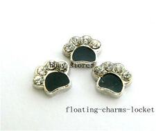 10pcs Crystal Dog Paw Print Floating Charms for Glass Locket Free Shipping FC234