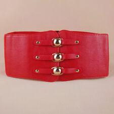Women Punk Super Wide Metal Studded Button Elastic Stretch Corset Belt Waistband