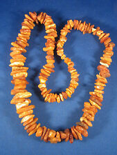 Estate Found Long Natural Chunky Baltic Butterscotch Amber Rough Necklace 26""