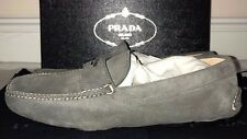 Prada Men's Scamosciato Suede Gray Loafer Driver Shoes Size 8