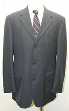Tommy Hilfiger 100% Virgin Wool Dark Blue Pin Stripe Made in Canada 3 Button 40R
