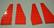 4 ~ (2-pair) Red 3x8 Wing Plates Bricks ~ New Lego Parts ~