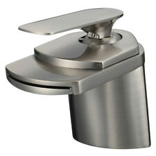 "4"" Waterfall Bathroom Faucets Brushed Nickel Vessel Lavatory One Hole/Handle Tap"